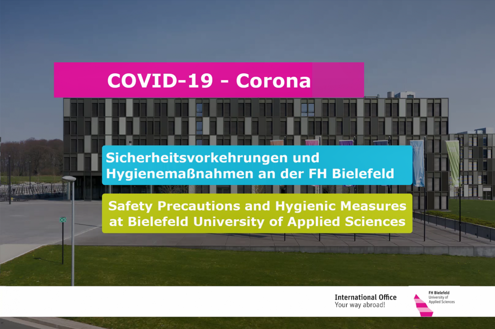 COVID-19 Corona - Safety precautions and hygienic measures at Bielefeld University of Applied Sciences (German & English)