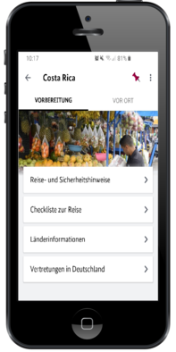 Sicher Reisen App Screenshot